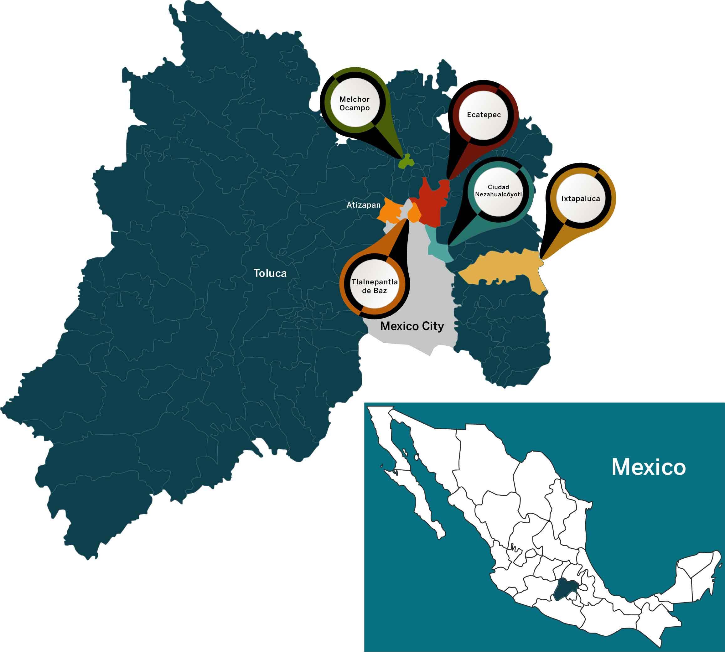 Los municipios conocidos como la 'periferia' de la Ciudad de México forman un extenso paisaje de casas autoconstruidas de bloques gris y varillas que tienen una relación entre favelas y suburbios en relación con la Ciudad de México. Si bien todo México sufrió la doble pandemia, la periferia rápidamente se convirtió en su epicentro.