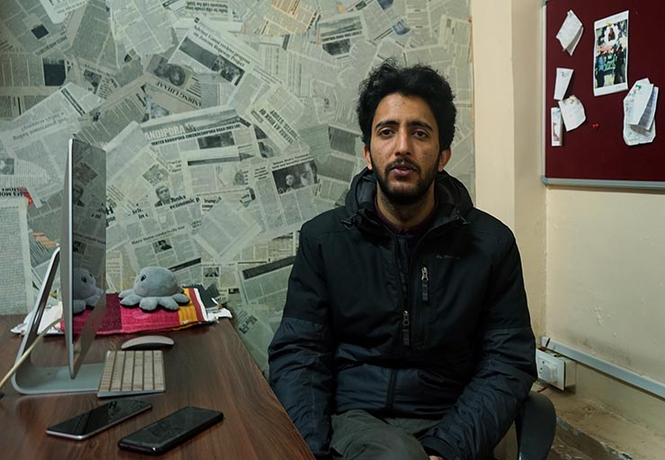 """Fahad Shah, editor of the local weekly magazine The Kashmir Walla. Shah says increasingly aggressive charges of """"fake news"""" by police have created a sense of fear among journalists which has also led to self-censorship. """"It is very difficult to report the other side of the story now."""""""