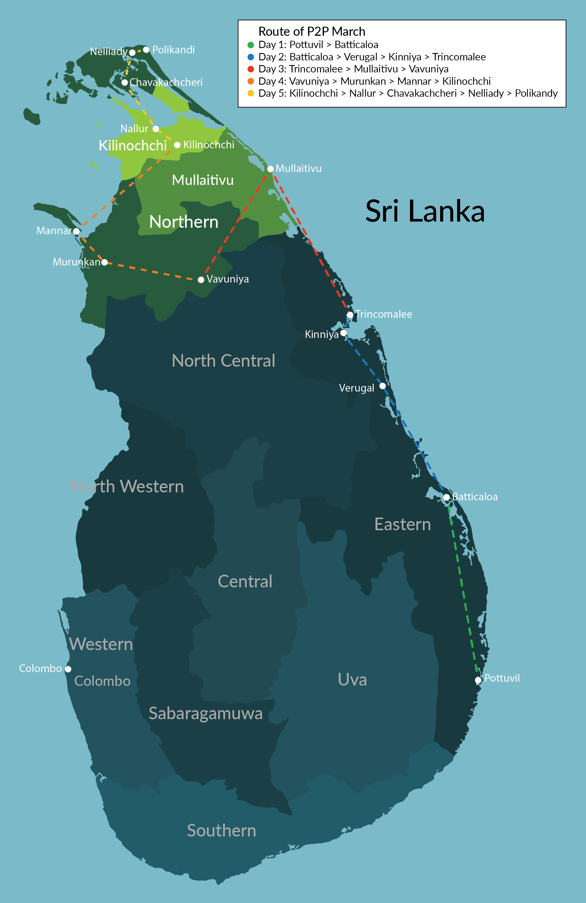 The most robust act of defiance of the Sri Lankan government's use of the coronavirus to suppress freedoms was P2P, a march organized by Tamil and Muslim activists in February 2021. The P2P march route is shown here.